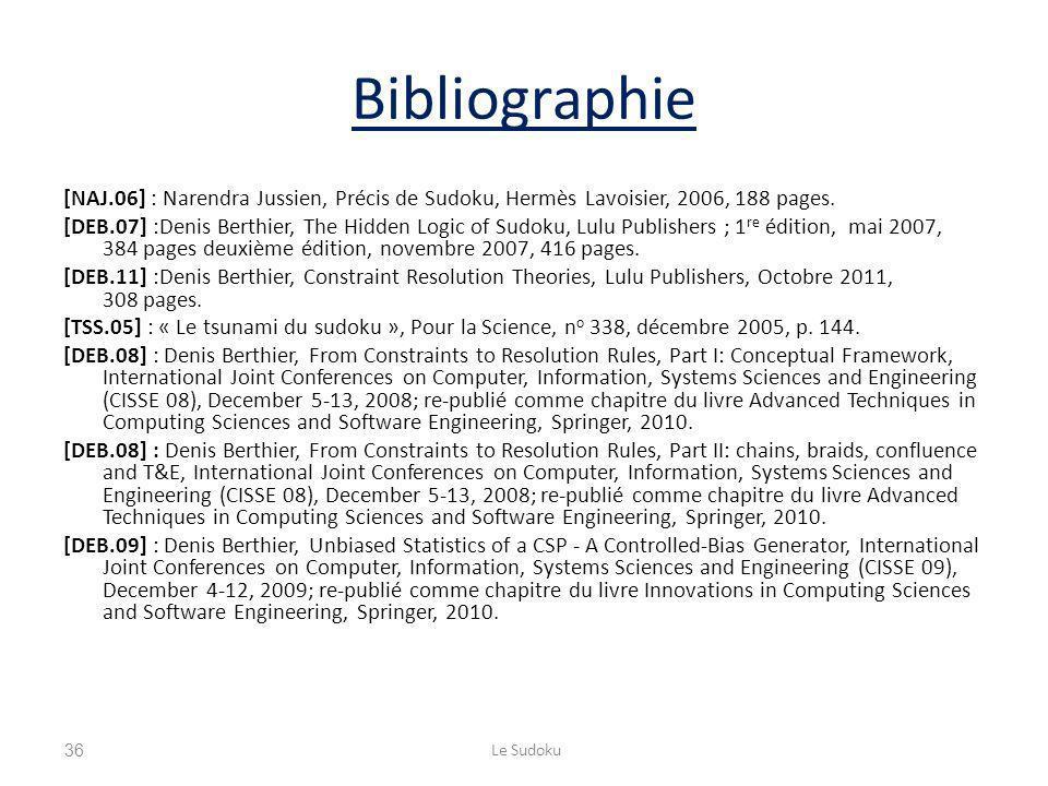 Bibliographie [NAJ.06] : Narendra Jussien, Précis de Sudoku, Hermès Lavoisier, 2006, 188 pages.